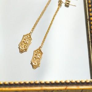 【受注製作】Tsukinofune 揺れるロングピアス / K10YG ダイヤモンド