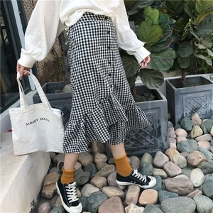 【即納♡】gingham check asymmetry skirt 6447
