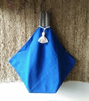 あずまバッグ(インド織×タイプリント)