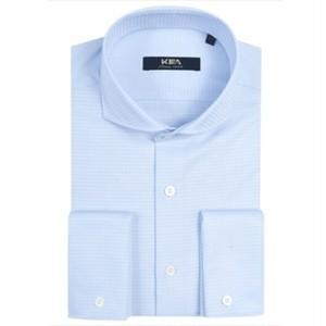 送料無料メンズ/ビジネスコーデ/ワイドカラー/コットンワイシャツ/青/白