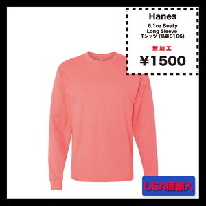 Hanes 6.1oz Beefy Long Sleeve Tシャツ (品番5186)