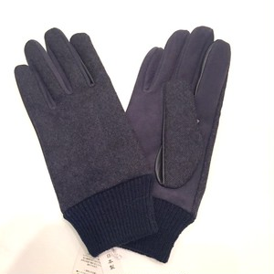 Lamb Suede Tweed Glove Navy×Navy