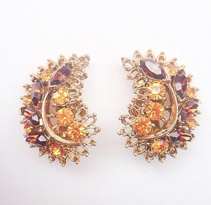 brown & amber rhinestone earring[e-246]