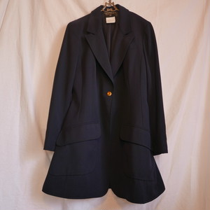 CHANEL Navy Long Jacket -Single Button-