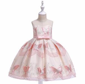 【送料無料】ピンク  新作 蝶々 刺繍  リボン付き  子供 ドレス