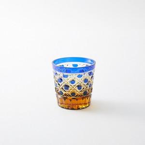 送料無料 無料包装 結婚祝 海外土産 記念品 還暦祝 古希祝 内祝 琥珀色瑠璃被せクリスタルガラスミニロックグラス(籠目模様)