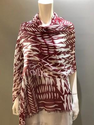 LARIOSETA(ラリオセタ)OK046/21485 Col.006(Wine)+Silver Lame モダールコットンナイロン イタリア製プリントスカーフ