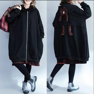 大きいサイズ レディース バックくまコート 長袖 秋冬 ブラック ブラウン 可愛い フード 【S8821197】