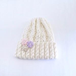 透かし編みニット帽(ホワイト)