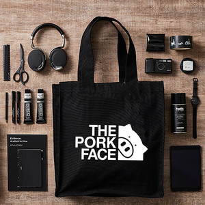 THE PORK FACE ヘヴィー キャンバス スクエア ビッグ トートバッグ(内ポケット付)