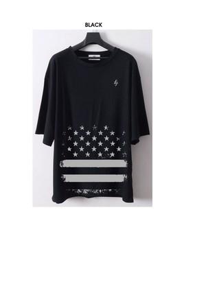 -OST- STAR STRIPE BIG Tshirt 黒