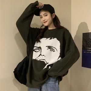 【トップス】質感良いゆったりプルオーバープリントニットセーター