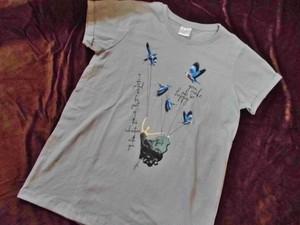 Tシャツ・鳥とバレリーナ(灰)