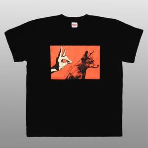 キツネ デザイン Tシャツ 影絵 ブラック ユニセックス   Fox Shadow / Black