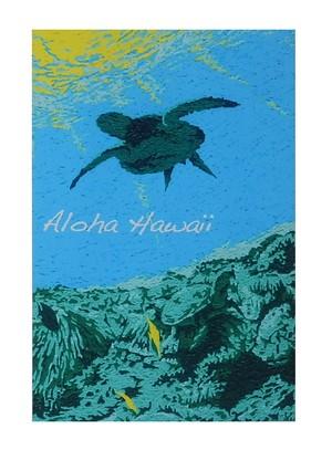 Aloha Hawaii ポストカード 絵画:ホヌ(Honu)