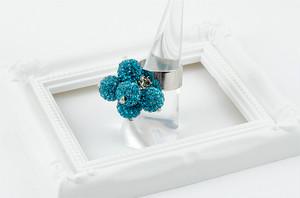 ラインストーンパヴェボールリング pve-ringturquoiseblue6 ターコイズブルー 指輪 パヴェ