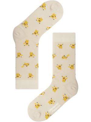 ※2月初旬再入荷予定【Pocket Monsters socksappeal】Pikachu -Ivory│【ポケットモンスターソックスアピール】ピカチュウ-アイボリー
