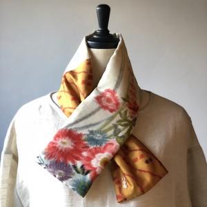 銘仙×リネン刺繍の小さな襟巻き2005/八月のうさぎ 着物 古布 リメイク ストール プチマフラー ネックウォーマー