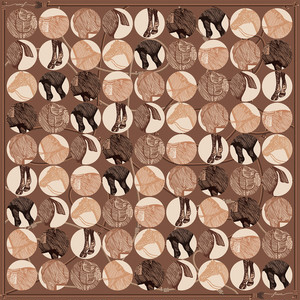 しあわせスカーフ「Le Siecle(Brown)」design by Siwa