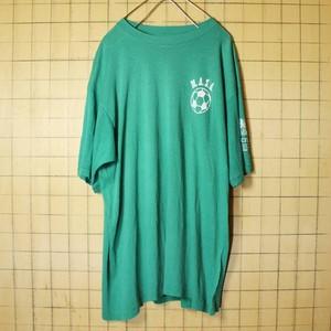 70s 80s USA製 3面プリント 半袖 Tシャツ グリーン 緑 メンズXL SIGNAL サッカーボール 古着 051320ss66
