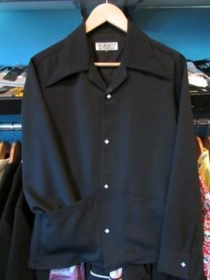 L/S40'sエリ&フロント2ポケットシャツ ブラック