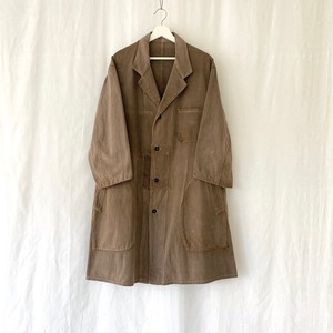 FRANCE 50s~vintage patch worked cotton twill work coat brown