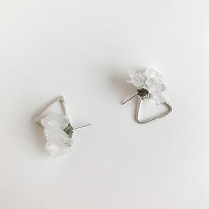 水晶微細結晶と三角のピアス