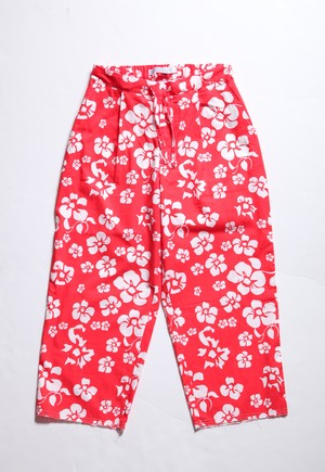 CC 1TUCK EASY PANTS-RED FLOWER