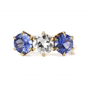 Diamond Sapphire Three Stone Ring