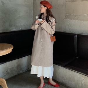 【アウター】ファッションラウンドカラールーズツイードオーバーコート