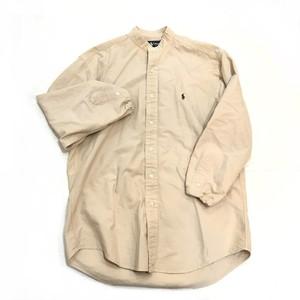 【USED】リメイク ラルフローレン ビッグサイズ バンドカラーシャツ 人気色 ベージュ グリーン刺繍 Sサイズ