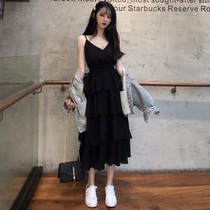 【ワンピース】ファッション無地Aラインノースリーブハイウエストワンピース27360485