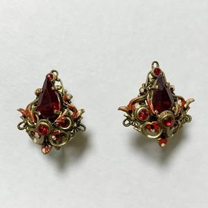 Vintage Red Bijoux & Enamel Earrings Made In Czechoslovakia