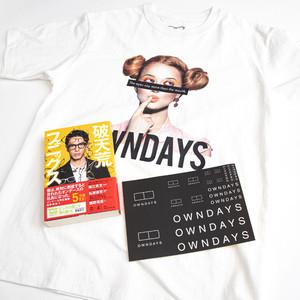 破天荒フェニックス 直筆サイン& OWNDAYS Tシャツ(白 × モデル)+ステッカー付パッケージ