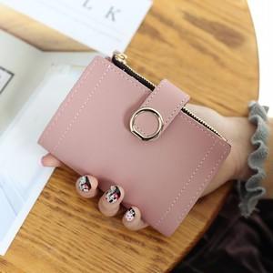 【バッグ】シンプルカジュアル無地7色2つ折り多機能財布