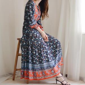 spring maxi dress / navy × red