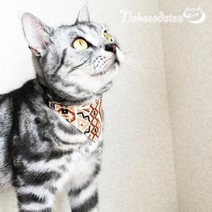【ブラウントライバル柄】猫用バンダナ風セーフティ首輪/選べるセーフティバックル 猫首輪 安全首輪