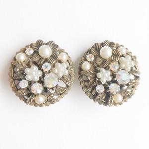 """ART"" pearl & rhinestone filigree earring[e-1200] ヴィンテージイヤリング"