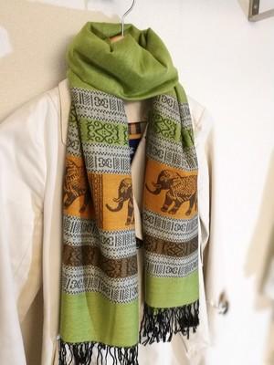 タイカシミア スカーフ 黄緑