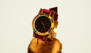 押花向日葵の木製腕時計
