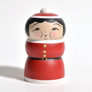 クリスマスこけし(ふくよかさん) 約2.5寸 約7.7cm 平賀輝幸 工人(作並系)#0054