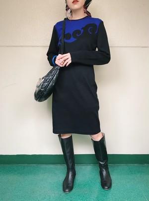 80s black × blue bi-color knit dress ( ヴィンテージ ブラック × ブルー バイカラー ニット ワンピース