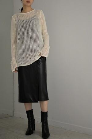 【予約商品】ROOM211 / Mole mesh knit TOP (white)