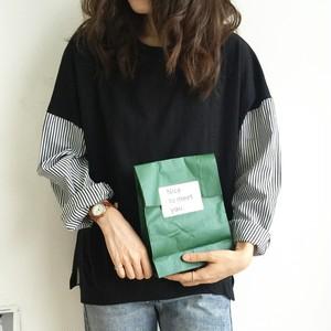 【トップス】簡約・シンプル合わせやすい長袖切り替えラウンドネックTシャツ22695053