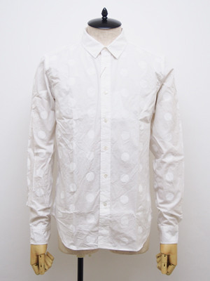 FINGER FOX AND SHIRTS (フィンガーフォックスアンドシャツ) 40/-Typewriter 500Dots Shirts / WHITE   FFS-0030-00