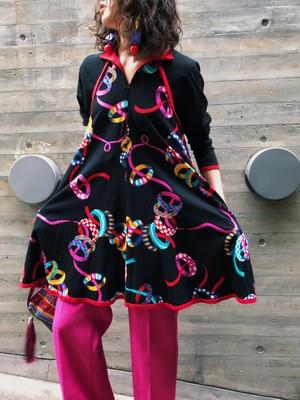 Jeanne marc black × multi color ribbon mini dress ( ジェーンマーク ブラック × リボン ワンピース )