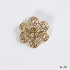 【ビオジュエリー】 黄金の草 カッピンドウラード ビオジュエリー ブローチ フラワー6 S