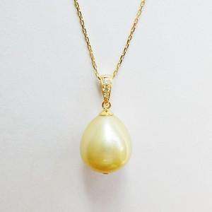 K18 シャンパンカラーの白蝶パール 1粒ネックレス ダイヤ付き