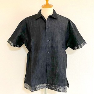 Gimmick Layered Design Denim Short Sleeve Shirts Black