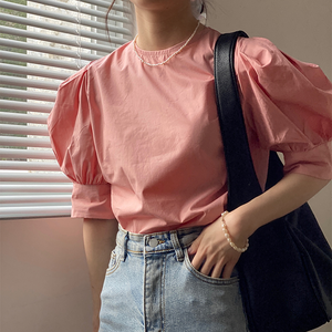 Puff Sleeve Casual Blouses(pink)